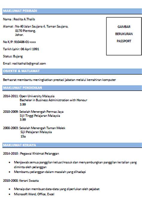 Contoh resume mintak kerja png 357x537